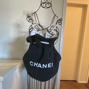 Aut Chanel black canvas drawstring bucket backpack